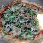 Olive, mushroom, pepper pizza