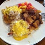Shrimp and Lump Crab Eggs Benedict Over Toasted Muffins with Cajun Hash Browns and Fruit Salad