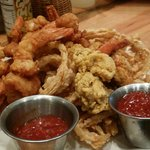 Fried Shrimp and Oysters with Onion Rings