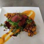 Wild roe deer fillet with textures of butternut squash