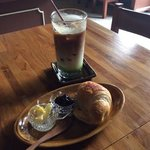 old town muddy iced coffee with plain croissant