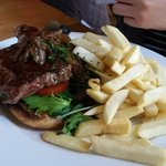 Steak sandwich.  Served medium.  The sandwich was good but we didn't care much for the chips