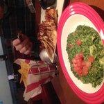 Artichockes dip and chicken quesadillas