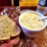 Ham on rye, potato soup.