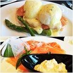Salmon eggs Benedict and salmon platter