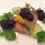 Yellowtail, cucumbers, watercress, and royal Ossetra caviar