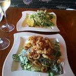Almond Chicken Salad & Crispy Calamari Caesar Salad