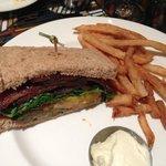 Half the Candied Bacon Club Sandwich