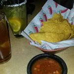 Complimentary chips & salsa and our drinks...