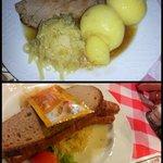 Braciole di maiale con gnocchi e salsiccia con krauti