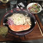Salmon with udon noodles and garlic & coriander sauce