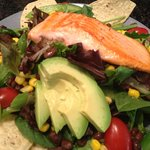 SW salad with grilled salmon