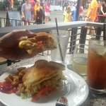 Breakfast sandwich, Bloody Mary and the people watching!