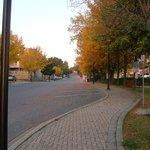 Sunday morning sidewalk to motel from lake.