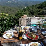 Lunch on deck over looking pool and Chianti hills