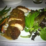 Pecan Panko Chicken, vegetables and greens