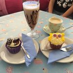Hoot Hoot and chocolate butterfly cupcakes. Coffee in a lovely, dainty cup and a traditional mil