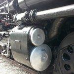 Dwarfed by the Big Boy Steam Engine