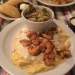 Great blackened shrimps and cheesy grits