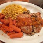 Pork chop with apricot glaze.