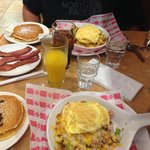 Scrambles and pancakes- yum!!
