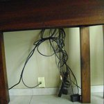 Wires hanging down from dining table