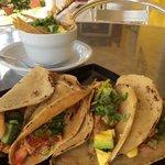 Tacos de Pollo con Sopa de Tortilla