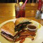Portobello mushroom sandwich and sweet potato fries