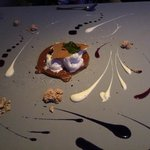 the end of the tasting...dessert a work of art.  prepared by chef directly on covered table