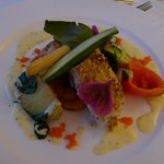 Main Course - Fish with fresh vegetables and saffron sauce