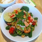 Thai sweet chilli prawn noodle salad,coriander springonions fresh lime toasted cashew & prawn cr