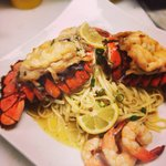 Fresh lobster & shrimp pasta in a garlic white wine sauce����
