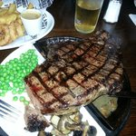 The superbly cooked and delicious 32oz rump steak!