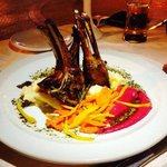 Lamb chops with beetroot mousse and mint sauce