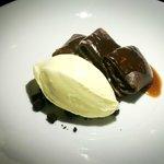 Chocolate Crêpes with milk chocolate, cinnamon ice cream.