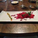 Salmon beetroot gravlax