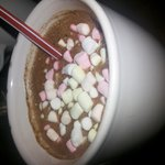 The Creamy Freshly Prepared Hot Chocolate of CHOCO-LATE BATIROL Served with Mini Marshmallows