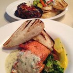 Sockeye salmon and ribeye steak