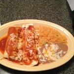 burrito, enchilta, rice & beans