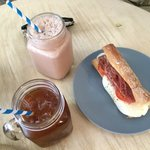 Iced Americano, chocolate milk shake and Prosciutto Sandwich