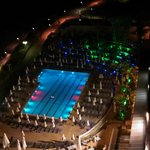 Night shot of the salt water pool on the hotel ground