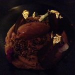 Chocolate mousse with gold leaf!