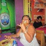 my dear friend enjoying her delicious lobster!