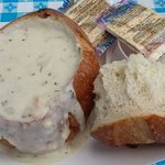 delicious clam chowder bread bowls!!!