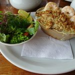 Seafood pie and salad