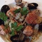 Seafood with linguine $32. Noodles perfectly cooked al dente, seafood was fresh and not rubbery.