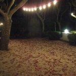 Před restaurací při nádherném podzimním večeru