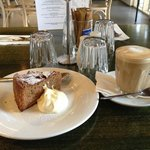 Coffee and cake at the small cafe