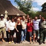 the staff at River Lodge (with us) saying goodbyes