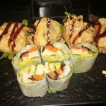 Lettuce roll and veggie tampura roll
